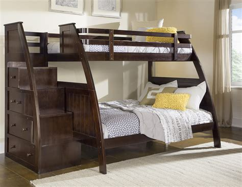 bunk beds twin over full with stairs canwood canwood overland twin over full bunk bed with built in stairs drawers by oj