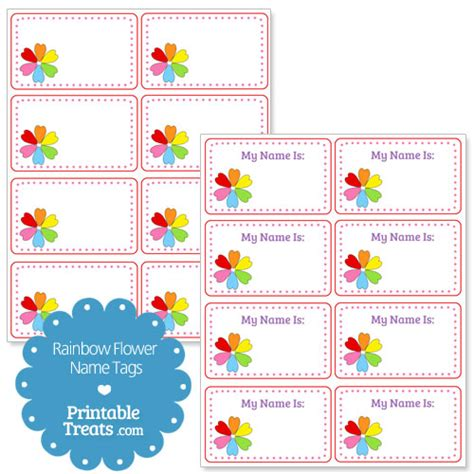 printable pictures of flowers with names rainbow flower name tags from printabletreats com