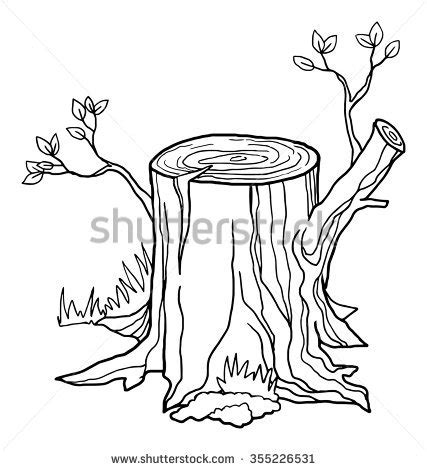 Stump Outline by Stump Black And White Outline Vector Illustration Isolated On White