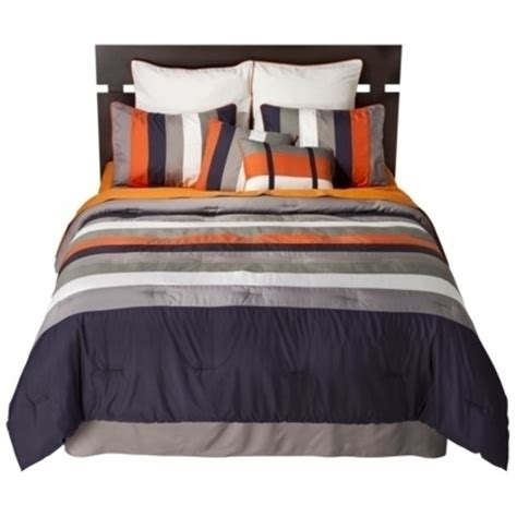 striped 8 piece bedding set navy orange by sunham home