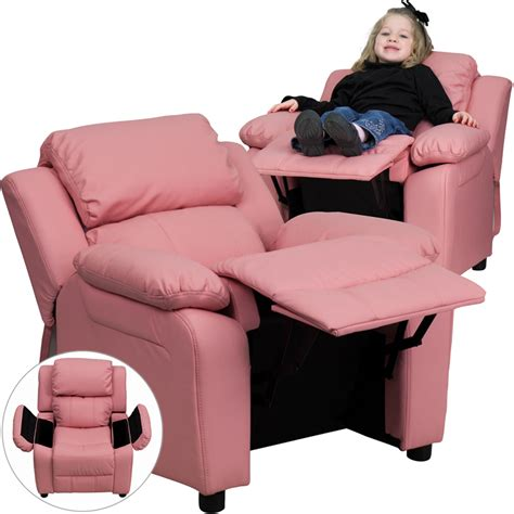 kids pink recliner flash furniture deluxe padded contemporary pink vinyl kids