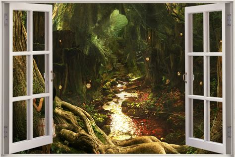 enchanted forest wall stickers 3d window children fairytale enchanted forest view wall sticker mural 1042 ebay