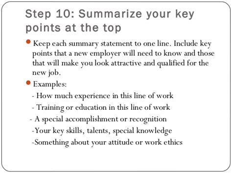 Resume Key Points by Resume Writing Ppt Presentation