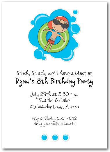 swimming invitation template boy in innertube swim invitations pool