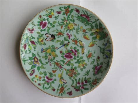 Green Lotus Fruit Plate Intl two 19th c export porcelain plates