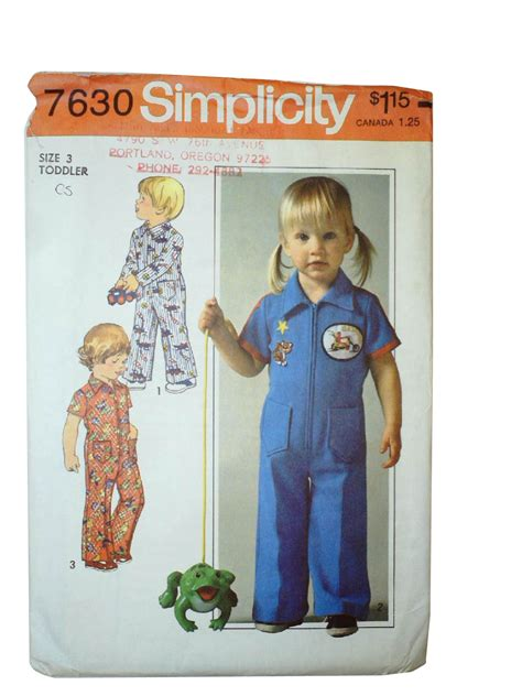jumpsuit pattern for toddlers vintage 70s sewing pattern 70s simplicity 7630 toddler