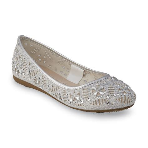 silver ballet flat shoes attention s coyle silver ballet flat clothing