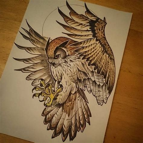 flying owl tattoo design fantastic brown new school flying owl tattoo design