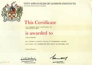 City And Guilds Certificate Template by Demo