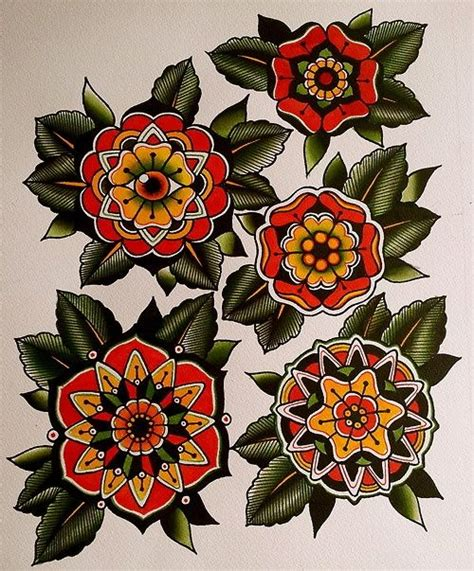 old school flower tattoo designs mandala geometric flower flash tattoos
