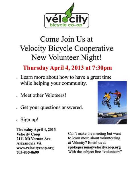 come join us at velocity bicycle cooperative new volunteer