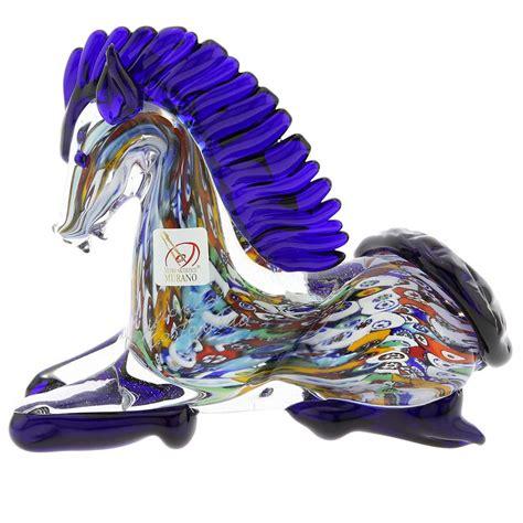 Home Decor Warehouse Sale Murano Sculptures Murano Art Glass Millefiori Kneeling Horse