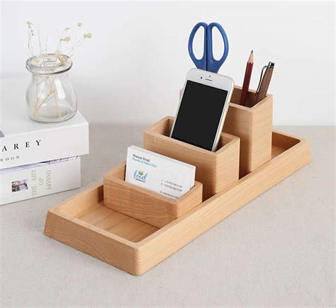 office desk organizer set wooden desk organizer home office accessories set 4