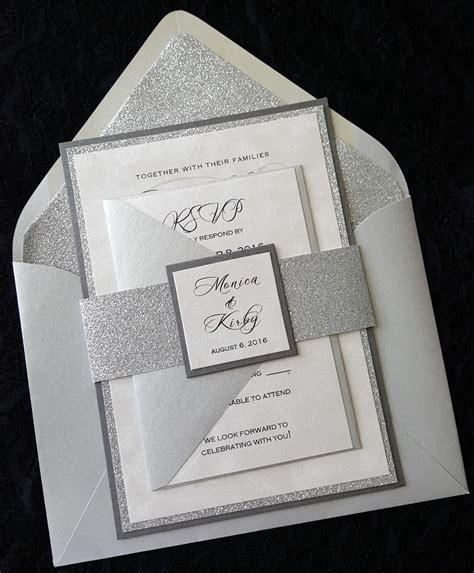 Silver Wedding Invitations glitter wedding invitation silver glitter wedding