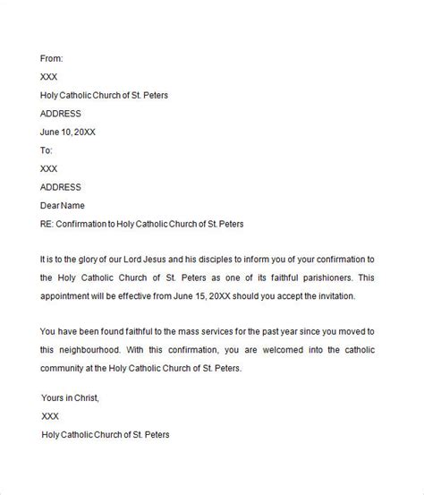 Confirmation Letter Exle Catholic Confirmation Letter 7 Free For Doc