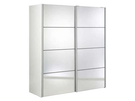 armoire 2 portes coulissantes miroirs verona coloris blanc