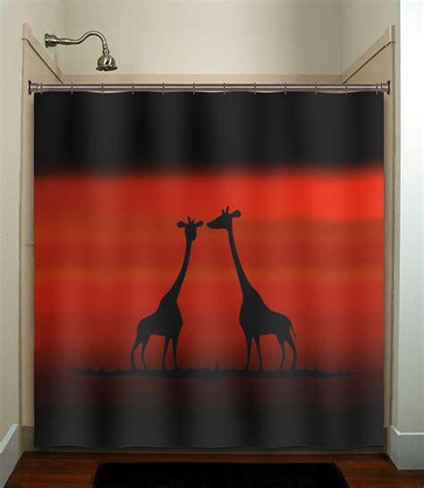 giraffe bathroom decor red sunset giraffes shower curtain bathroom decor fabric kids