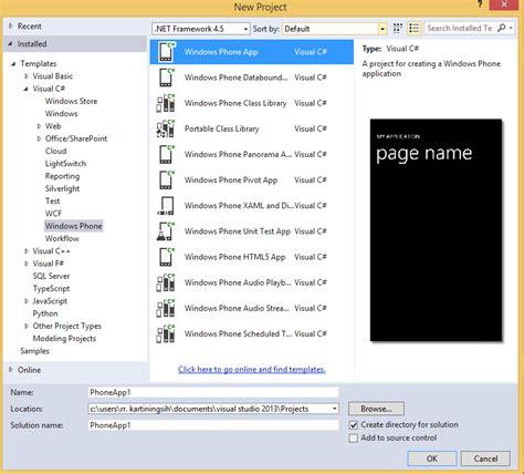membuat email windows phone tutorial windows phone part 2 membuat project pertama