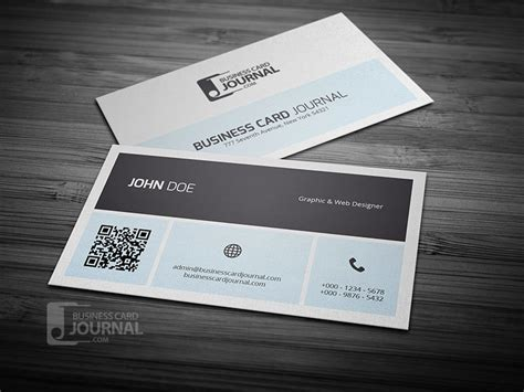 business card journal free templates simplistic business card with qr code vector