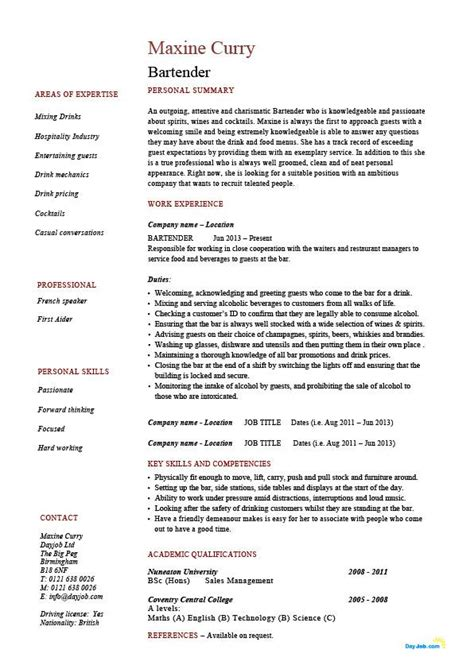 sle cv for waiter bartender resume exles bartender cv exle for restaurant