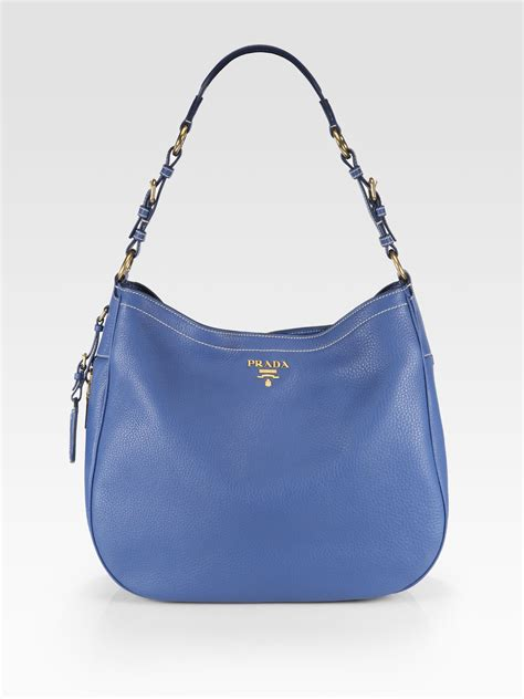 Prada Vitello Daino Mini Hobo Purse by Prada Daino Chain Hobo Bag With Grommets Prada Designer