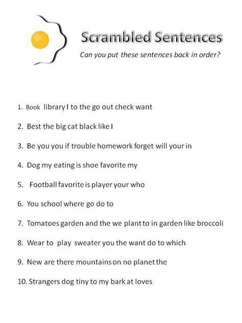 Scrambled Sentences Worksheets by S2u Scrambled Egg Sentences