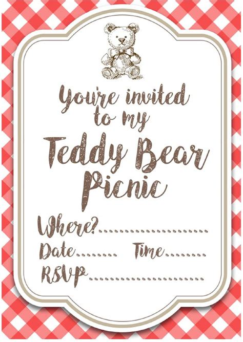 Teddy Picnic Invitation Template free printable teddy picnic invites teddy