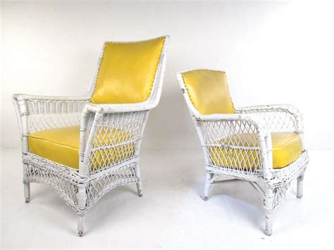 set of six vintage wicker and vinyl chairs mid century