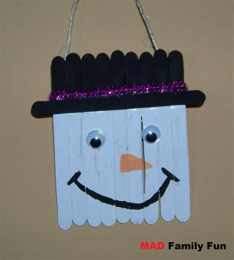snowman crafts mad family craft stick snowman