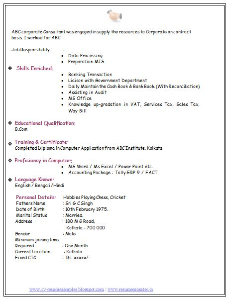 Sample Resume Format For Experienced Person Over 10000 Cv And Resume Samples With Free Download Bcom