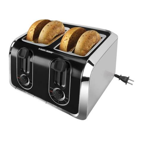 Silver Toaster Black Decker Tr1400sb 4 Slice Toaster Black Silver New