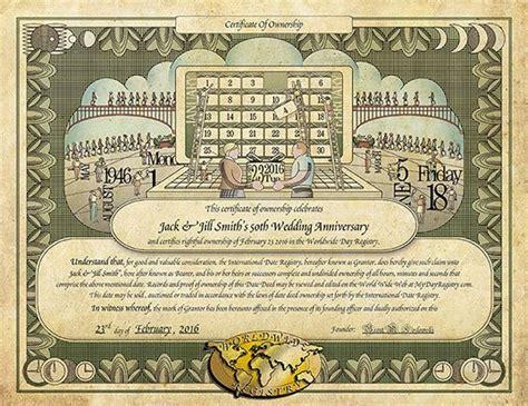 Wedding Anniversary Gift Certificate by Anniversary Mydayregistry