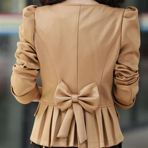 Outerwear Blazer Bow Back Blazer Wanita fashion back bow tie sleeves light
