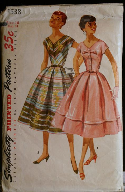 sewing pattern etsy vintage sewing pattern 50s misses party dress simplicity 1538