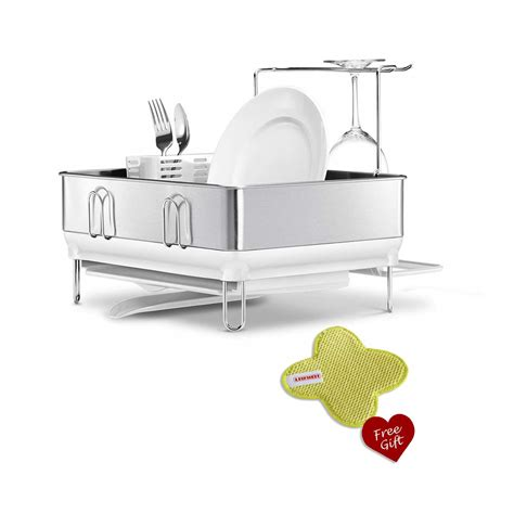 Simplehuman Dish Rack With Wine Glass Holder by Simplehuman White Kt1167 Compact Steel Frame Dish Rack