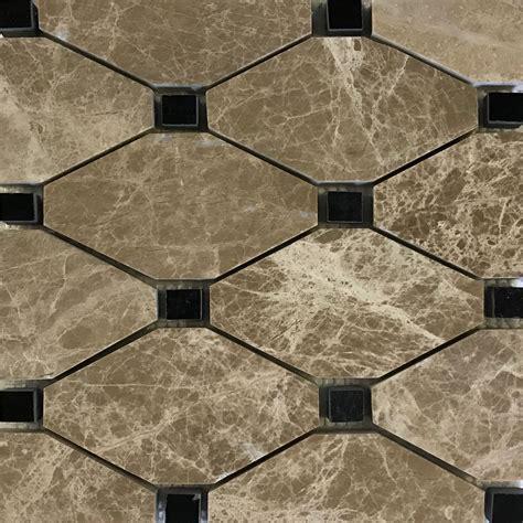 Boliche Mosaic Tile Emperador Light Black Marble Polished