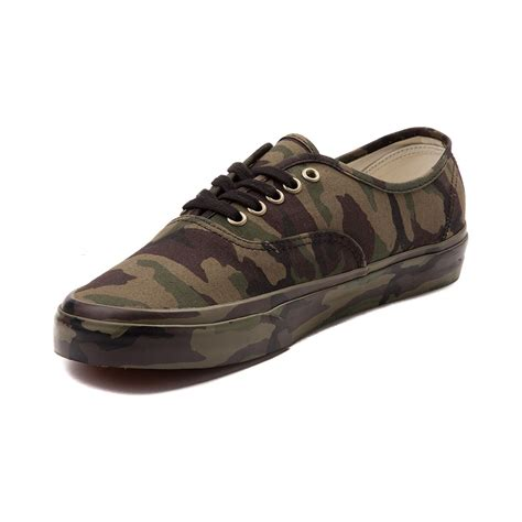 vans authentic camo mono skate shoe green 497102