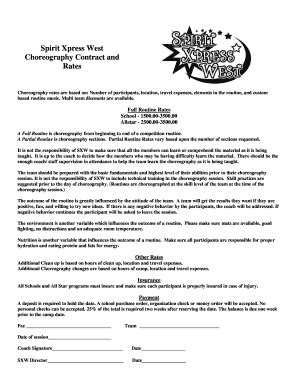 Quinceanera Choreography Contract Edit Fill Out Print Download Online Templates In Word Choreographer Contract Template