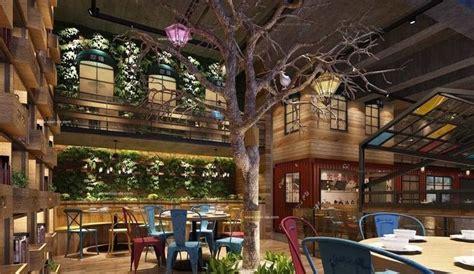 luxury restaurant hall  plants   tree