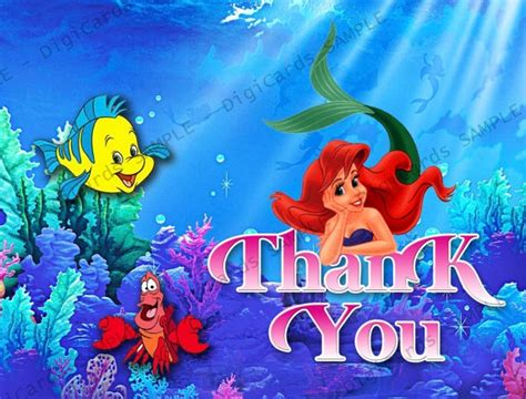 printable little mermaid thank you cards the little mermaid thank you card by digicards on etsy 4