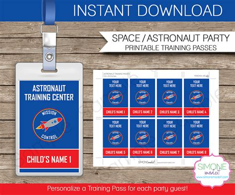 Space Party Astronaut Training Passes Party Favors Nasa Name Tag Template