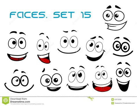 cartoon laughing faces  googly eyes stock vector