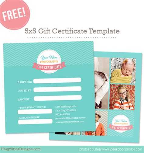 Free Gift Card Template For Photographers Photoshop Www Hazyskiesdesigns Com Free Photography Template