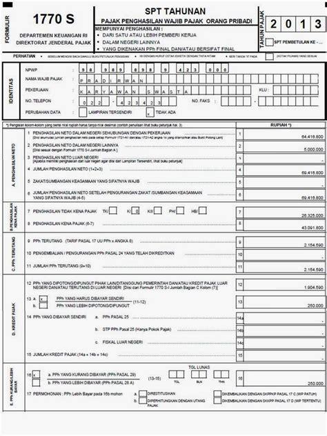 formulir spt tahunan pph orang pribadi form 1770 s tahun