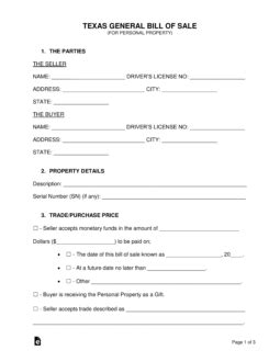 Free Texas General Bill Of Sale Form Word Pdf Eforms Free Fillable Forms General Bill Of Sale Template Word
