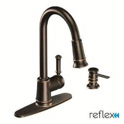 moen lindley 1 handle pull sprayer kitchen faucet featuring reflex in mediterranean bronze