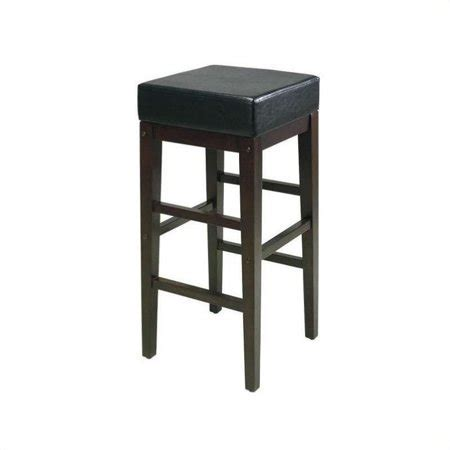 Square Leather Bar Stools by 30 Quot Square Black Faux Leather Barstool With Espresso Legs