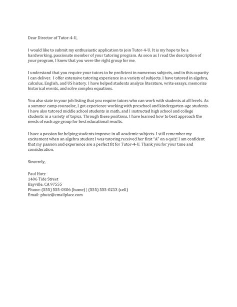 cover letter for tutor tutor cover letter sle best letter sle