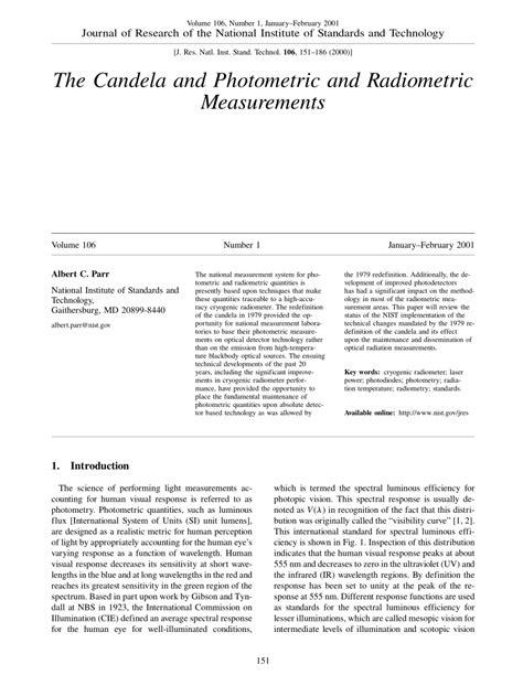 candela measurement pdf the candela and photometric and radiometric measurements