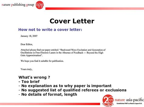 what not to put in a cover letter how to get your papers published in nature journals ppt